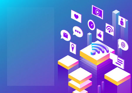 Connection, internet and social media network. Abstract isometric illustration on blue spectrum background. Vector 3d design. Presentation or landing page template. Illustration