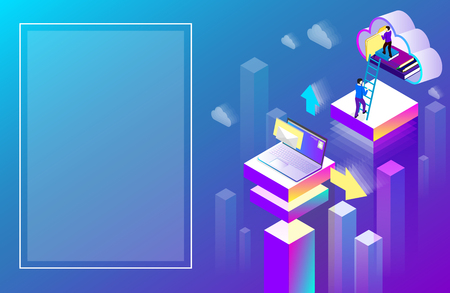 Office or student background laptop used cloud storage. Purple spectrum isometric illustration. Landing page or presentation template. Vector 3d design. Vectores