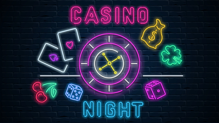 Colorful neon luminous casino night signboard on black realistic bricklaying wall. Textured background. Vector illustration.
