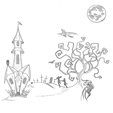White background with hand-drawn house, moon and tombstones sketches for halloween decoration. Vector paper illustration.