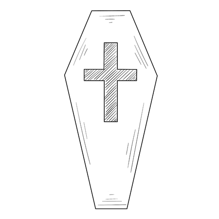 Hand-drawn coffin silhouette sketch with cross isolated on white background. Halloween, rite or gothic decoration. Vector top view illustration.