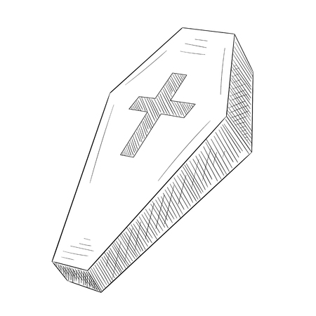 Hand-drawn coffin silhouette sketch with cross isolated on white background. Halloween, rite or gothic decoration. Vector 3d illustration.