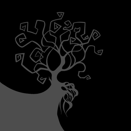 Night grey background with silhouette of tree and precipice. Halloween card or decoration or gothic design. Vector illustration.