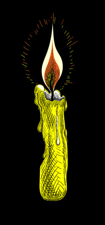 Yellow burning waxy candle for Halloween or gothic decoration isolated on black background. Hand-drawn sketch. Vector illustration. Illusztráció
