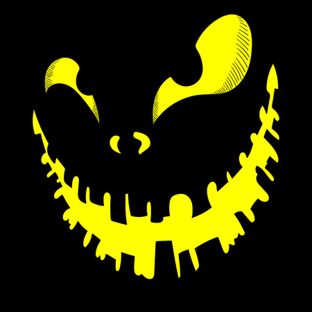 Yellow shiny Halloween scary monster face on black background. Vector illustration. Illustration