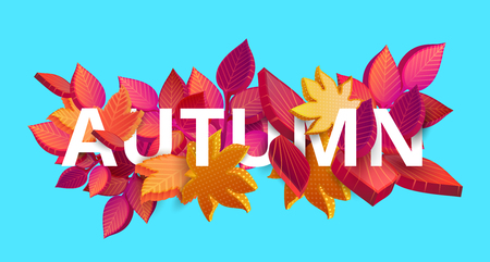 Blue autumn background with red, pink and orange leaves. Graphic 3d design. Vector illustration. Stock Illustratie