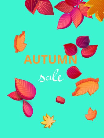 Green autumn sale background with colorful falling maple and oak leaves. Card or poster template. Graphic 3d design. Seasonal promotion. Vector isometric illustration.