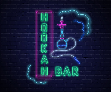 Hookah bar. Textured background with colorful neon decoration on black realistic bricklaying wall. Design for restaurant, cafe, or bar. Vector illustration.