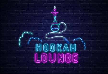 Hookah lounge. Textured background with colorful neon decoration on black realistic bricklaying wall. Design for restaurant, cafe, or bar. Vector illustration.