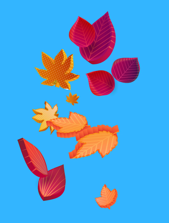 Blue autumn background with beautiful orange and red leaves. Card or poster template. Graphic 3d design. Vector isometric illustration.