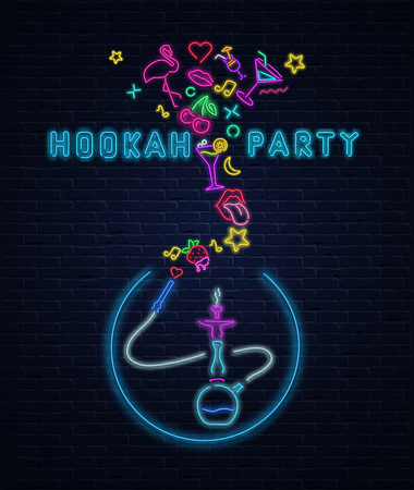 Hookah party. Textured background with colorful neon decoration on black realistic bricklaying wall. Design for restaurant, cafe, hookah lounge or bar. Vector illustration. Illustration