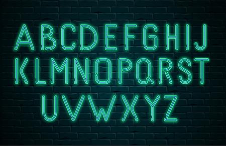 Alphabet latin lumineux néon vert sur fond texturé mur de maçonnerie réaliste noir. Modèle de lettres pour la création de panneaux d'affichage. Conception pour boîte de nuit, casino, bar, discothèque. Illustration vectorielle. Vecteurs