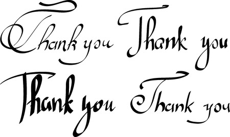 Black Thank you lettering or print on white paper background. Vector illustration. Handwritten template for greeting card. Illustration