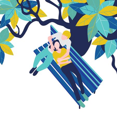Pareja enamorada: chico y chica en un banco del parque bajo un árbol sobre fondo blanco. Ilustración de vector, vista superior, estilo plano.