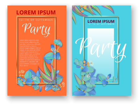 Blue and orange paper party backgrounds with frame and beautiful eucalyptus floral pattern. Blank design template for card, poster or invitation. Vector illustration.