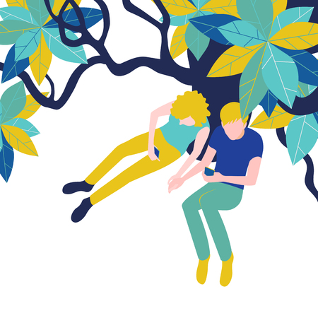 Enamored couple: guy and girl in park under tree on white background. Vector illustration, top view, flat style. Ilustracje wektorowe
