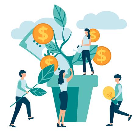 Los personajes del grupo de personas aumentan la eficiencia y los ingresos, ganan dinero sobre fondo blanco. Negocios, trabajo en equipo, éxito financiero, negocios, banca. Árbol del dinero. Ilustración de vector de estilo plano.