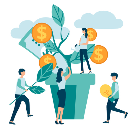 Group of people characters increase efficiency and income, make money on white background. Business, teamwork, financial success, business, banking. Money tree. Vector illustration, flat style.