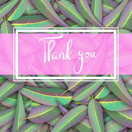 Pink thank you card with green beautiful eucalyptus leaves. Greeting card design template. Vector paper illustration.