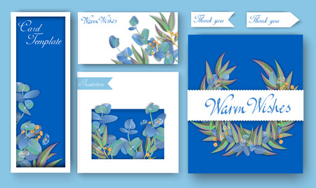 Set of blue invitation backgrounds and greeting cards with beautiful eucalyptus. Design template. Vector paper illustration.