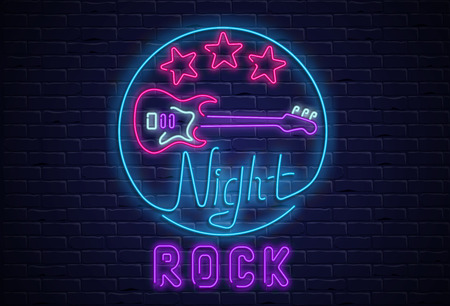 Night rock neon colorful signboard with guitar on black realistic bricklaying wall textured background. Design template for club, disco, bar, concert, party. Vector illustration.