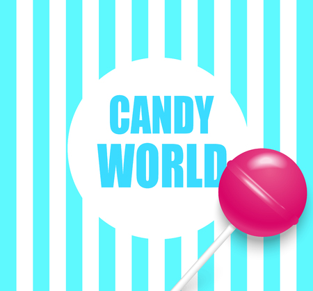 Candy world. Blue and white striped background with cute pink 3d lollipop. Vector illustration.