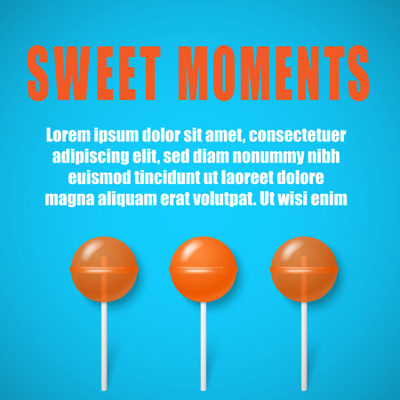 Sweet moments. Blue background with cute orange 3d lollipops. Landing page blank template. Vector illustration.