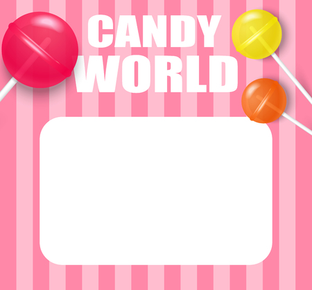 Candy world. Pink striped background with white frame and cute colorful 3d lollipops. Vector illustration.