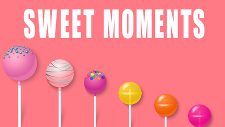 Sweet moments. Pink background with cute colorful 3d lollipops. Vector illustration.