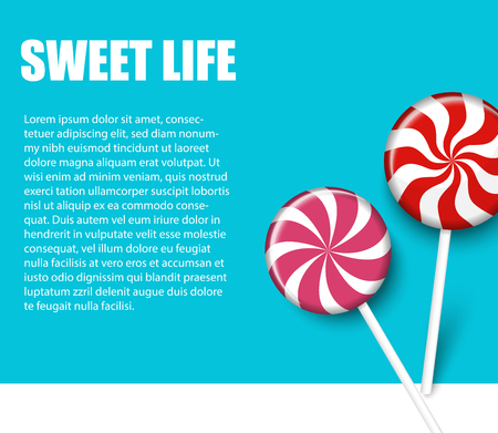 Sweet life. Blue background with cute red and pink striped lollipops. Landing page blank template. Vector illustration. Çizim