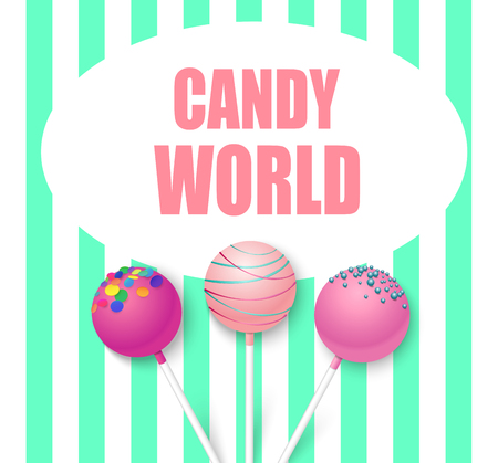 Candy world. Green and white striped background with cute pink 3d glazed lollipops. Vector illustration. Çizim