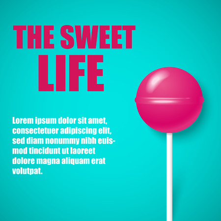 The sweet life. Blue background with cute pink lollipop. Landing page blank template. Vector illustration.
