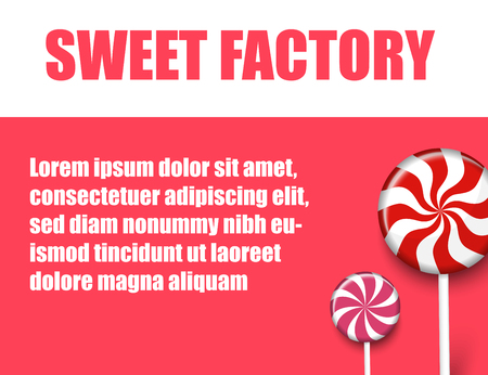 Sweet factory. Red and white background with cute striped lollipops. Card, poster, booklet or advertising blank template. Vector paper illustration.