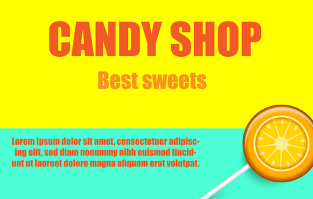 Candy shop, best sweets. Yellow and green background with cute orange lollipop. Card, poster or advertising template. Vector paper illustration.