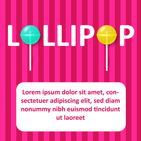 Pink striped background with white frame and cute colorful lollipops. Candy world. Vector paper illustration.