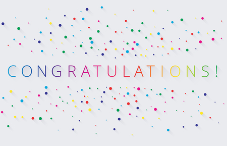 Spectrum congratulations lettering with colorful confetti or painted dots on white background. Greeting card or poster template. Vector paper illustration.