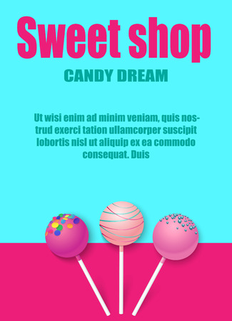 Sweet shop, candy dream. Blue and pink background with cute glazed lollipops. Card, poster, booklet or advertising template. Vector paper illustration.