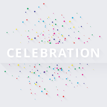 White celebration background with colorful star shape confetti. Invitation, card or poster template. Vector paper illustration. Illustration