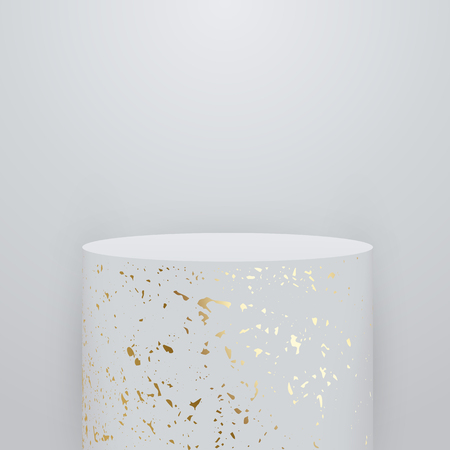 Okrągły marmur 3d podium, cokół lub platforma ze złotym wzorem na białym tle. Pusty szablon sceny do prezentacji produktu. Ilustracja wektorowa.