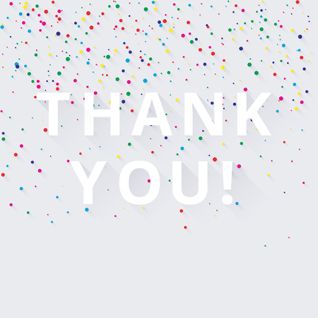 white thank you background with colorful confetti or painted