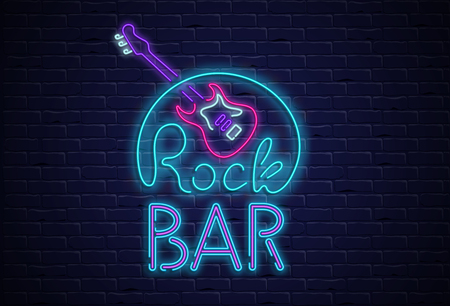 Rock bar neon colorful signboard with guitar on black realistic bricklaying wall textured background. Design template for club, disco, bar, concert, party. Vector illustration.