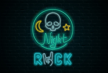 Night rock neon colorful signboard with skull on black realistic bricklaying wall textured background. Design template for club, disco, bar, concert, party. Vector illustration.