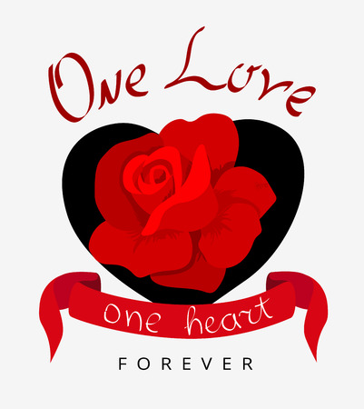 One love, one heart forever. Valentine's poster or card with red rose. Stylish print, cover. Vector background.