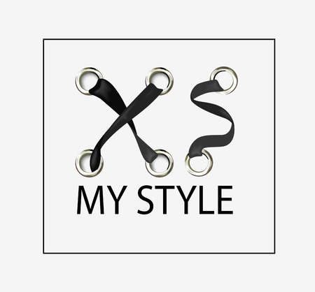 XS my style. Lacing label. Design for youth, teenagers. Stylish print. Vector background.
