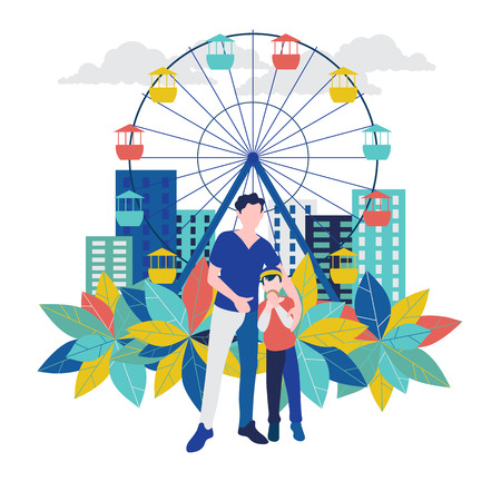Father and son in amusement park. Holiday vector background. Card or poster template. Flat style.