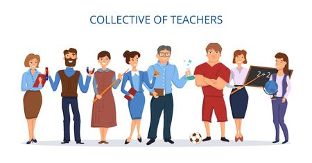 Collectif d'enseignants. Ensemble de figures humaines avec accessoires scolaires. Affiche de style plat. Fond de vecteur.