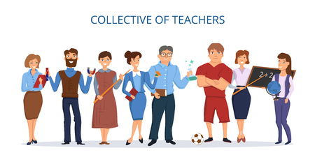 Collective of teachers. Set of human figures with school accessories. Flat style poster. Vector background.