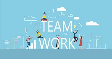 People working together. Business, teamwork, team building, success, plans and goals. Vector background, flat style. Blue presentation or landing page template. Banque d'images - 112004661