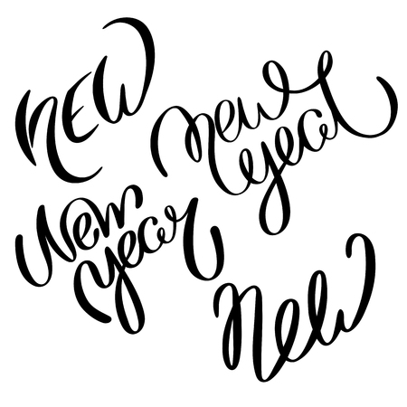 Black New and New Year lettering or print on white paper background. Vector handwritten template for greeting card design. Illustration