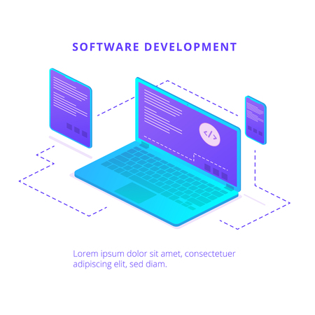 Software development. Landing page or presentation template with laptop and mobile devices. Vector background.